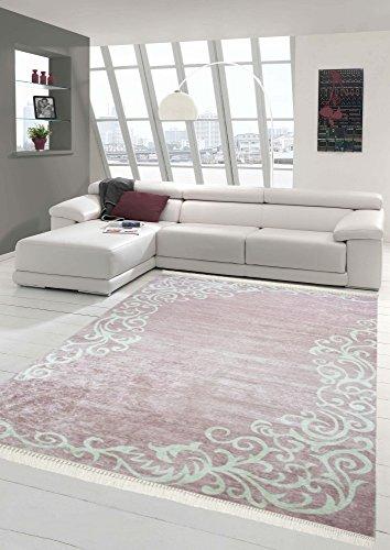 Merinos Teppich Floral Designerteppich Wohnzimmerteppich waschbar in Rosa Creme Größe 160x230 cm