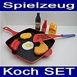 Kochzubehör SET 9 tlg., Kunststoff, Pfanne, Wender, Kinder Koch Küchen Zubehör (LHS)