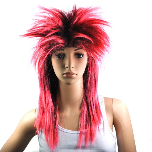 Accessotech 80er Damen Glam Punk Rock Rocker Chick Tina Turner Perücke Fancy Dress Party Kostüm Red -