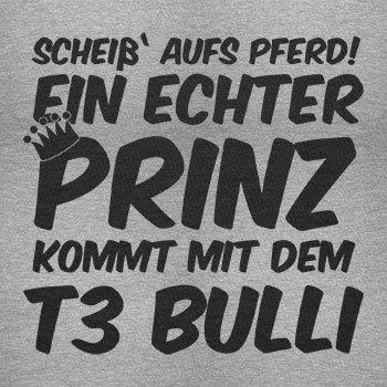 TEXLAB - Ein echter Prinz kommt mit dem T3 Bulli - Herren Langarm T-Shirt Grau Meliert