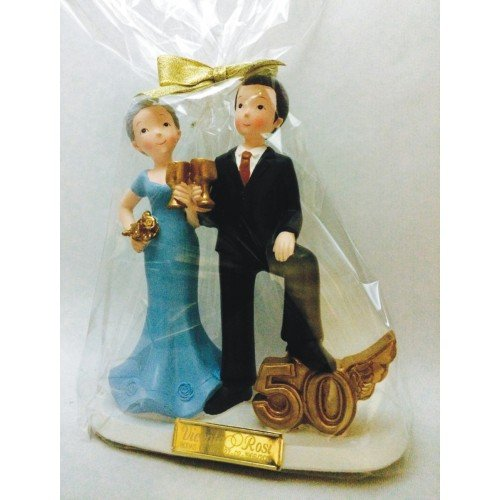 50 anniversary gold wedding cake figure ENGRAVED / CUSTOMIZED figures for cheap cake