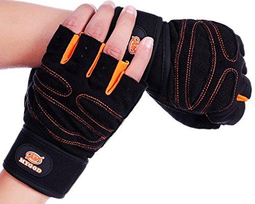 Smile YKK Herren Fitness Sport Handschuh Halb Finger Handschuh L Gelb