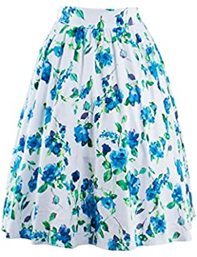 YuanDian Mujer 50s Retro Vintage Impresión Plisada Circulares Falda Acampanadas Rockabilly Linea A Swing Vuelo...