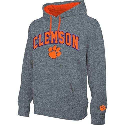 eLITe NCAA Herren Kapuzen-Sweatshirt, Grau, Herren, Hoodie Sweatshirt Gray Applique Arch, Clemson Tigers Dark Heather Gray, Large