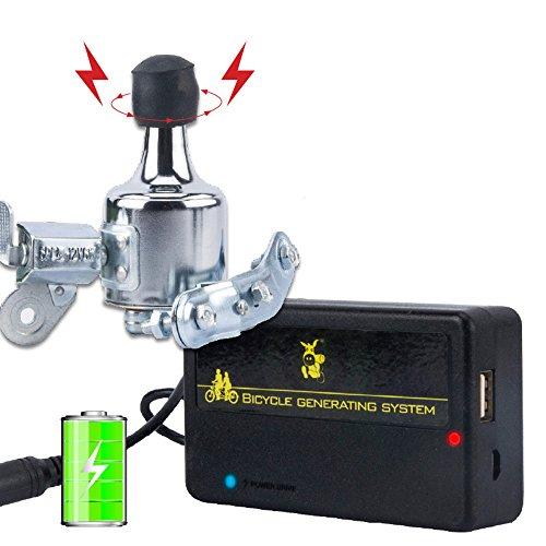 ZJEGO Dynamo Fahrrad USB Generator Ladegerät Kit, Tragbar Und Wasserdicht - Keine Werkzeuge Erforderlich (Silber)