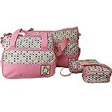 Snakell 5 PC Frauen Multifunktions Mummy Bag Handtaschen Mutterschaft Baby Carriage Bag Baby Wickelrucksack Groß Wickeltasche mit Wickelunterlage Babytasche an Kinderwagen
