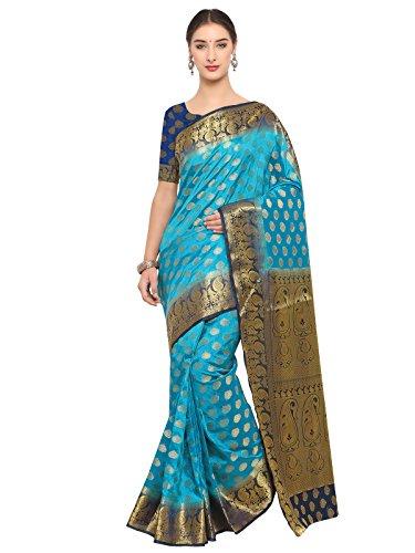 Kanchnar Women's Blue Poly Silk Jacquard Kanjivaram Saree (619S205)