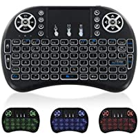 Mini Wireless Keyboard with TouchPad - Portable Backlit Keypad, JUNWER 2.4G QWERTY Keyboard for Computer/Tablets/Laptop/PC/Mac/TV/Xbox/PS3, Black