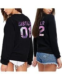 1c93ffbbf9 Best Friend Sudadera 2 Piezas Mejor Amiga Suéter Impresión Sister 01 02  Cuello Redondo Manga Larga