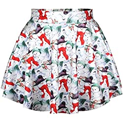 Devil Woman|Girl Lycra Assort Printed And Mix Colour Short Skirt (pack of 1)