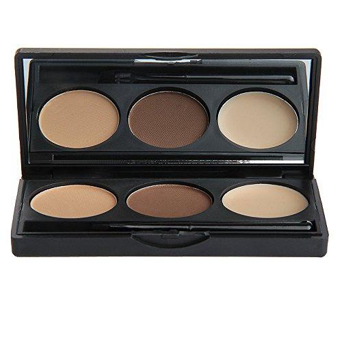 FACILLA® Fard Poudre à Sourcils Eyebrow Ombre 3 Couleurs avec Brosse Maquillage
