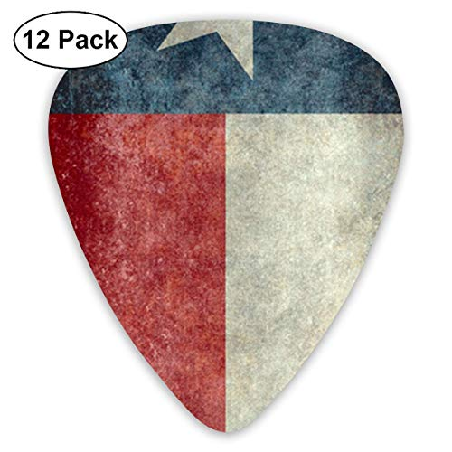 Texas State Flag Classic Celluloid Guitar Picks (12 Pack) for Electric Guitar, Acoustic Guitar,Plectrums for Guitar Bass -