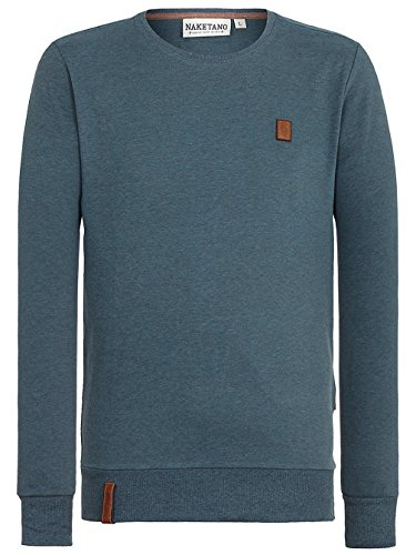 Herren Sweater Naketano Ich Hab Augenbart III Sweater dirty deep blue green mel