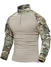MAGCOMSEN Men's Tactical Military Combat Slim Fit T Shirt Long Sleeve with Zipper