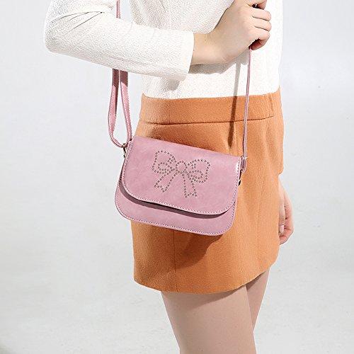 Faysting EU borsa a tracolla donna vari colori scelti PU pelle farfalla bow stile buon regalo rosa