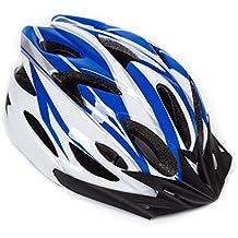 hoaey adulto ajustable casco para bicicleta de montaña bicicleta de carretera ciclismo casco con visera de 18Vents del respiradero seguridad protección gorro para deportes al aire libre (57–63cm), hombre, B White+Blue