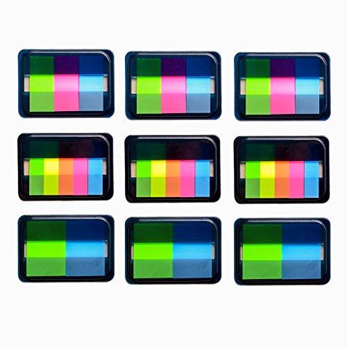 Yolito 9set Page Marker Plastik Transparent Haftmarker Index Schreibbar,3 Größen (600 Stück)