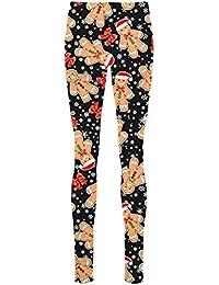 janisramone Womens Ladies New Christmas Santa Reindeer Snowman Gift Print Stretchy Xmas Leggings Skinny Pants
