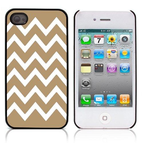 Graphic4You Chevron Muster Harte Hülle Case Tasche Schutzhülle für Apple iPhone 4 und 4S (Gelb) Hellbraun
