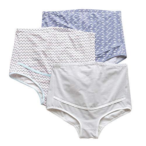 Feoya Damen Umstandsmode Slip Schwangerschaft Baumwolle Unterwäsche Einstellbare Hohe Taillen Unterhose Bauch Unterstützung Höschen Schlüpfer Panty 3er Pack - M -