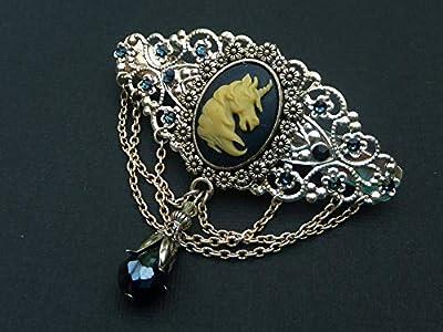 Pince à cheveux camée noble avec licorne en argent bleu foncé