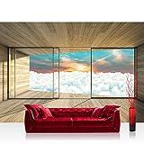 Fototapete 254x184 cm PREMIUM Wand Foto Tapete Wand Bild Papiertapete - Holz Tapete Holzoptik Himmel Wolken Fenster Rahmen Sonnenaufgang beige - no. 2156