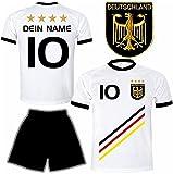 Deutschland Trikot + Hose mit GRATIS Wunschname + Nummer + Wappen Typ #D 2018 im EM / WM weiss - Geschenke für Kinder,Jungen,Baby,.. Fußball T-Shirt personalisiert als Weihnachtsgeschenk