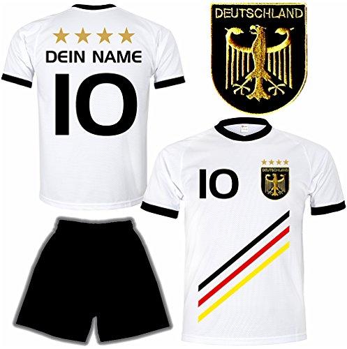 Deutschland Trikot + Hose mit GRATIS Wunschname + Nummer + Wappen Typ #D 2018 im EM / WM weiss - Geschenke für Kinder,Jungen,Baby,.. Fußball T-Shirt personalisiert als Weihnachtsgeschenk (Personalisierte Sport-geschenke)
