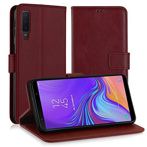 Simpeak Ersatz für Galaxy A7 2018 Hülle Rot [6,0 Zoll], Case Cover für Samsung Galaxy A7 2018 flipcase [Kartensteckplätze] [Stand Feature] [Magnetic Closure Snap] Rot Cover Case Snap