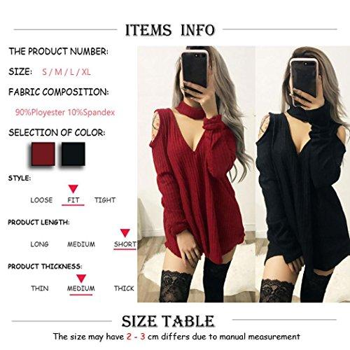 HIver Femme Pull Robe Longue Tunique Pull Coller V Vintage Rouge