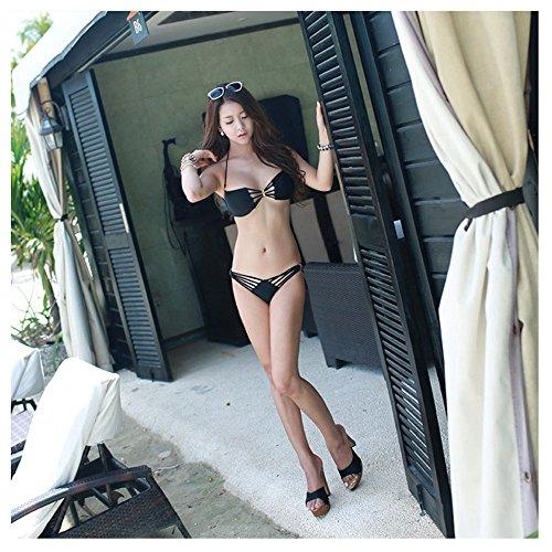 Bikini Bademode Frauen Bikinis Damen Bikinis Schwimmen Bikini Kostüm Damen Bandage Push Up Badeanzug zwei Stück Bikini Set Badeanzug Tanga BeHappy Marke (Viral Video Kostüme)