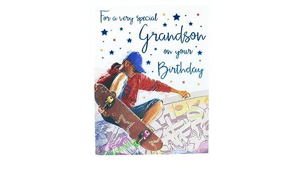 "Enfants Garçon avec skateboard /""Fils/"" Carte d/'anniversaire"