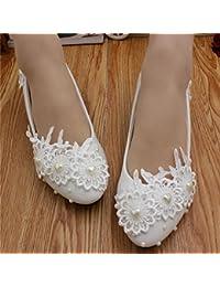 JINGXINSTORE Zapatos nupciales de la boda del cordón blanco de la perla de las mujeres hechas a mano, UK3