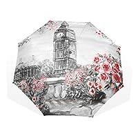 Jeansame Vintage Roses Floral Flowers London Big Ben Folding Compact Umbrella Sun Rain Manual Umbrellas for Women Men Kid Boy Girl