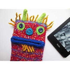 "S Readertasche""Bertold"", E-Book Hülle, Tasche, Monster, Tolino vision, Tolino Shine, Kindle Voyage, Unikat, gefilzt, Filz, Wolle"