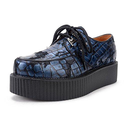 Herren Leder Oxfords Platform Plateauschuhe Punk Creepers Schnürhalbschuhe Blau 43