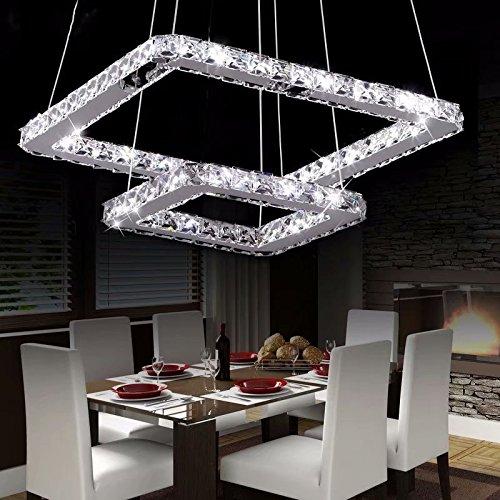 Loco 50cm(20 inch)led lampadario di cristallo, moderna dell'acciaio inossidabile del quadrato di placcatura modern home soffitto light fixture