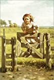 Canvas print 20 x 30 cm: Young Girl Swinging on a Gate by John George Brown / Bridgeman Images - ready-to-hang wall picture, stretched on canvas frame, printed image on pure canvas fabric, canvas p...