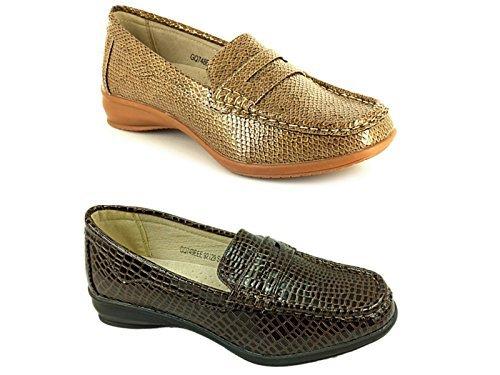 Femmes Dr Keller Lainey Brun/ Elaine Beige Crocodile Coupe Large Semelle Plate Confort Décontracté Taille De Chaussure 4-9