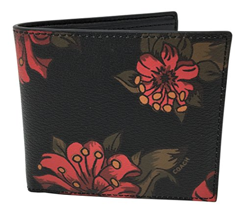 Coach Men's Double Billfold Wallet Hawaiian Lilly Floral Red Multi F32304