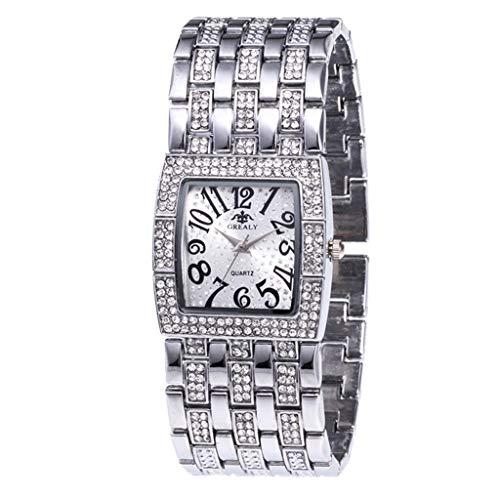 Lazzgirl Luxus Damen Metall Quarz Edelstahl Gürtel Square Dial mit Diamant Damenuhren(Wie Gezeigt,One Size)