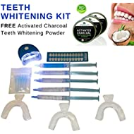 Teeth Whitening Kit + Free Activated Charcoal Powder Professional Dental grade gel white light tooth whiten laser whitener free from peroxide carbamide Get White Smile DIY home Bleaching Cleaning Strips Whiter toothpaste polish