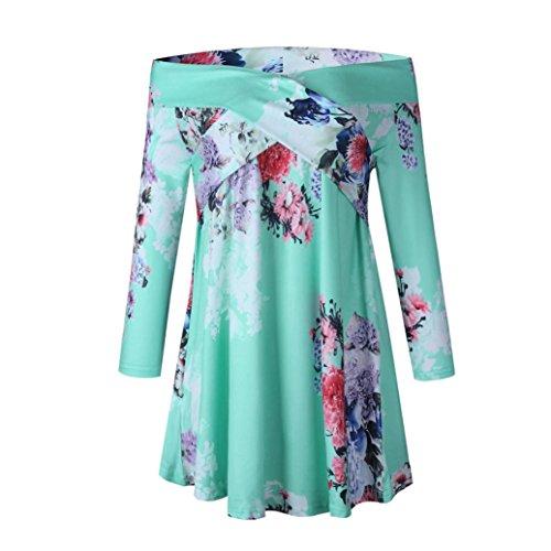 Damen off Shoulder Bluse, FNKDOR Elegant Sommer Casual Schulterfrei Shirt Tops T-Shirt (42, Grün) (Ärmelloses Crinkle-chiffon-kleid)