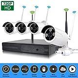 EDSSZ Interior / al aire libre 4 canales inalámbricos WIFI NVR kit HD 720p IR día / noche visión IP cámara P2P CCTV sistema de seguridad EDS-WIFIKIT04-720P