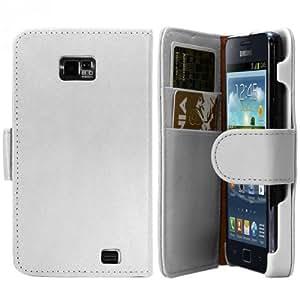 Housse étui portefeuille blanc pour Samsung Galaxy S2 i9100