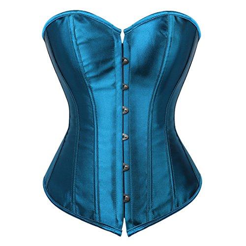 Kranchungel Damen Sexy Satin Vollbrust Corsagetop Burlesque Gothic Korsett Dessous 3X-Large Pfau Blau