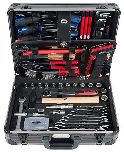 KS Tools 911.0695 1/4 + 1/2 Sanitär-Werkzeugkoffer, 95-teilig, Werkzeugkoffer / Werkzeugset / Werkzeugkasten / Werkzeugkiste, inkl. Werkzeug wie z. B. Schraubendreher, Wasserwaage, Doppel-Maulschlüssel, Stecknuss