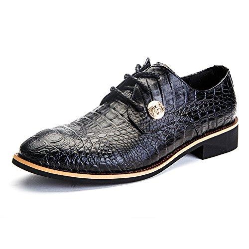 Men's Crocodile Pattern Lace Up Cowhide Oxford Shoes Black