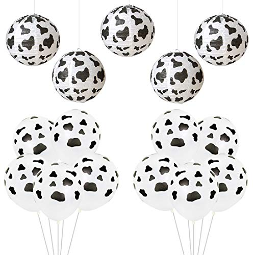 ersorgungsmaterialien und Dekorationen Kuh-Druck-Papierlaternen-Latex-Ballone für Kindergeburtstags-Babyparty ()
