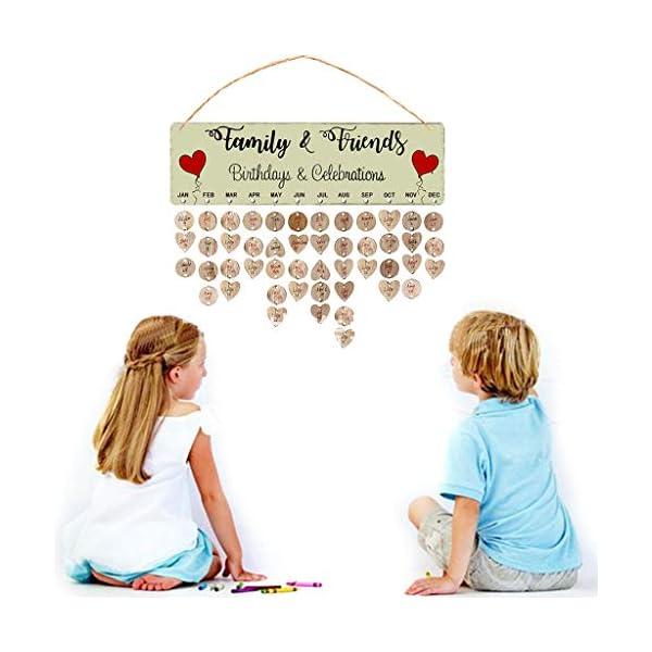 RROVE Recordatorio Calendario Año Nuevo Cumpleaños Familiar de Madera, Recordatorio Calendario Tablero Colgante de Pared… 2